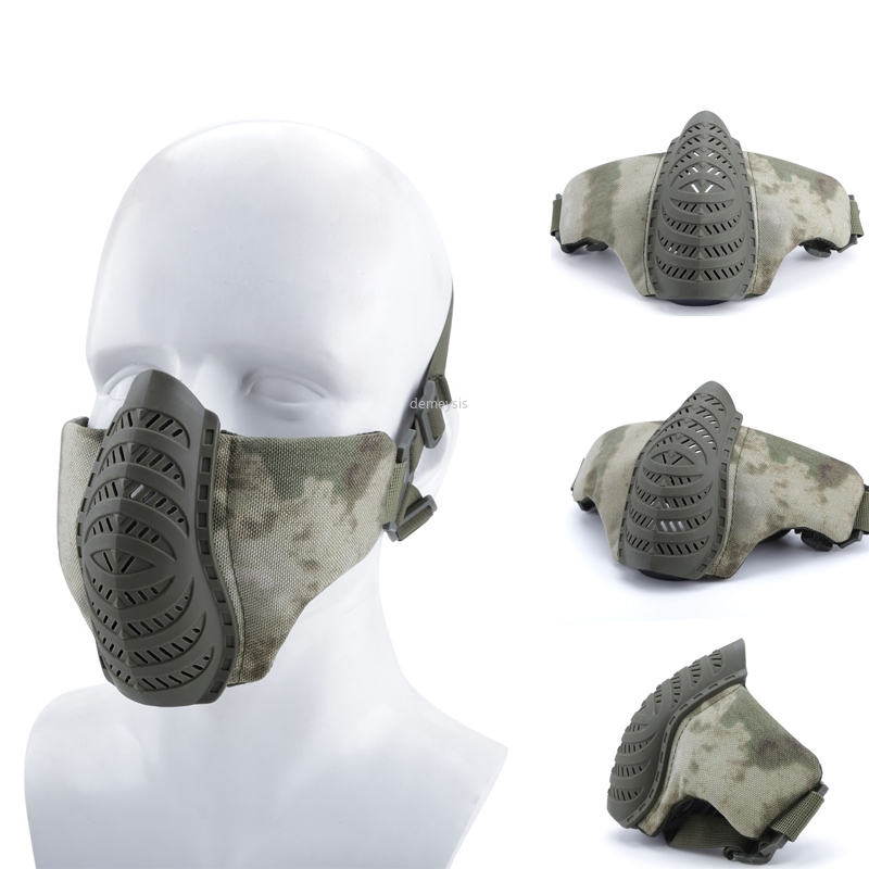 1000D Nylon Military Airsoft Mask Half Face Breathable Tactical Combat Shooting Protective Mask Wargame CS Safety Masks