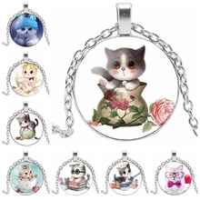 2019 New Fashion High Quality Girl Three Color Cute Cat Glass Pendant Necklace Female Hot Sale Jewelry