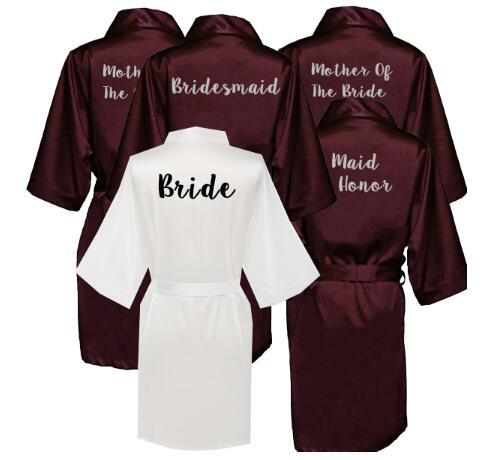 Wine Red new bride bridesmaid robe mother sister of the bride wedding gift bathrobe kimono satin robes 001