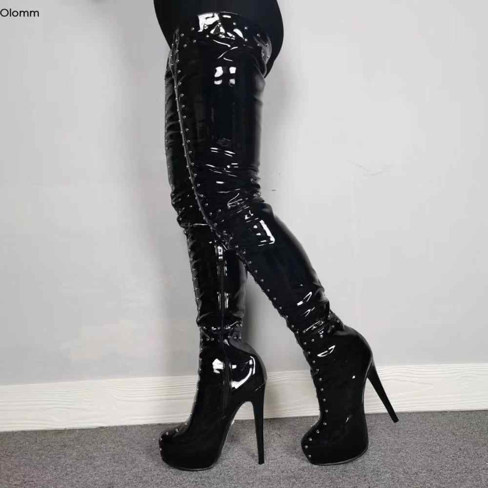WOMENS LADIES HIGH HEEL STILETTO PLATFORM OVER THE KNEE THIGH HIGH BOOTS SIZE