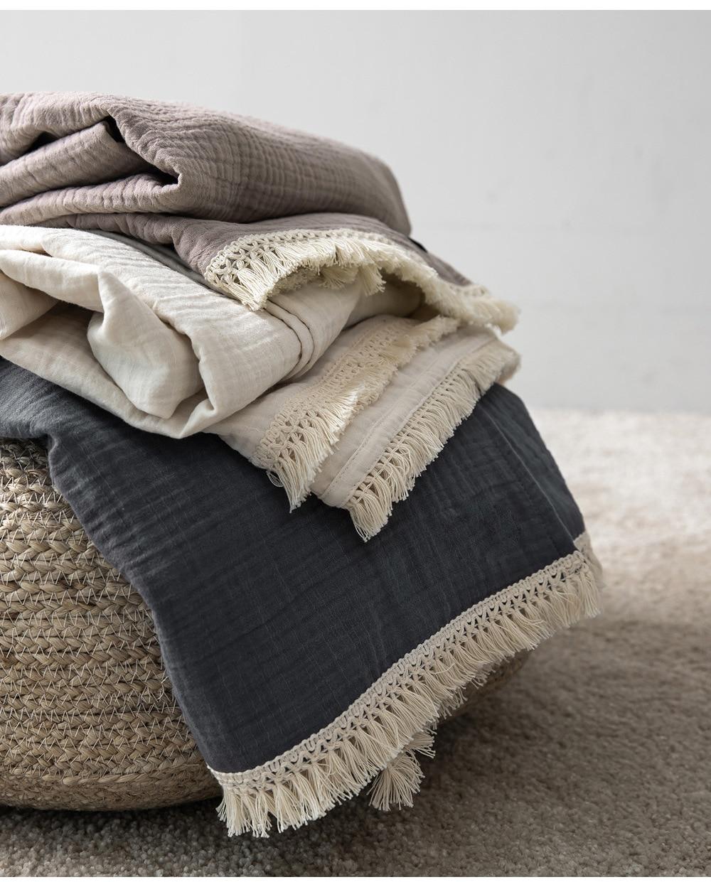 Cotton Muslin Baby Blanket With Tassel 4 Layers Summer Bed Sheet Bedspread Cotton Bath Towel Baby Receiving Blanket