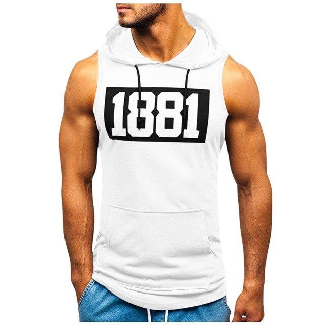 Men Hoodies Tank Top Sleeveless Muscle Gym Sport Slim Vest Bodybuilding Hooded Hip Hop Streetwear Workout Elastic Men Tank Top 2