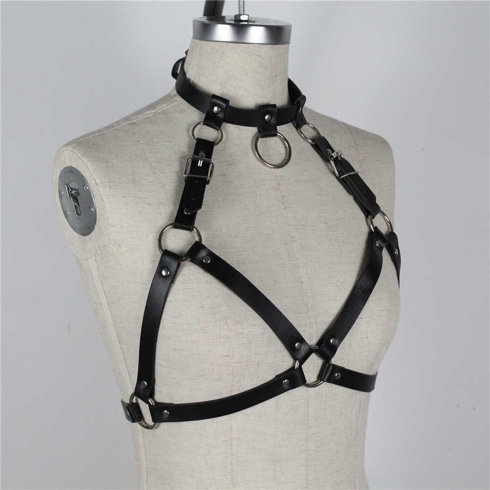 HY_Enchanting Sexy Belts For Women Punk Rock Halterneck Goth Punk Leather Harness Bondage Cage Bustier Chest Rave Garter Belt
