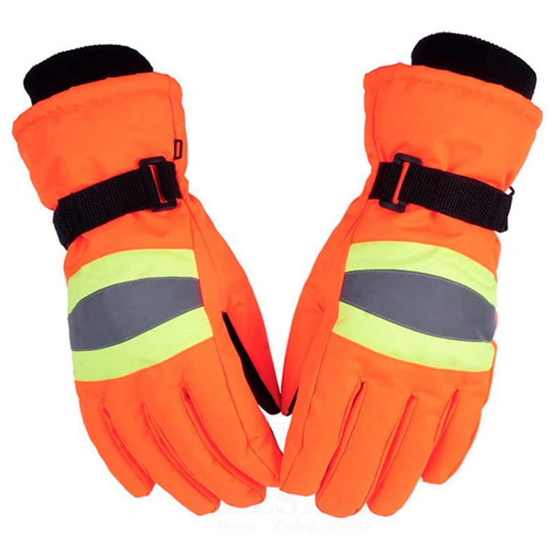 Winter Thermal Work Gloves With Reflective Strip Anti-Slip Anti-Wind Warm Gloves For Outdoor Sports Work Safe Hands Protection