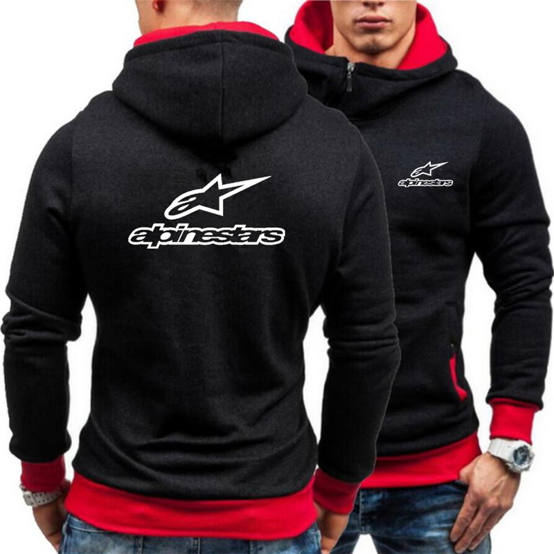 New Winter Thicken Alpinestar Warm Hoodies Oblique Placket Sweatshirts Brand hooded Men Casual Coats Jackets Printed Long sleeve