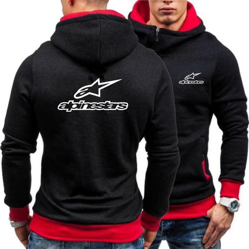 New Winter Thicken Alpinestar Warm Hoodies Oblique Placket Sweatshirts Brand hooded Men Casual Coats Jackets Printed Long sleeve
