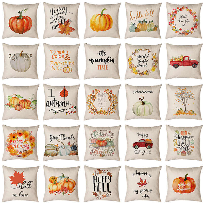 New INS Thanksgiving 45*45cm Fall Cushion Cover Printing Harvest Throw Pillowcase Linen Cotton Car Home Decorative Pillow Cover