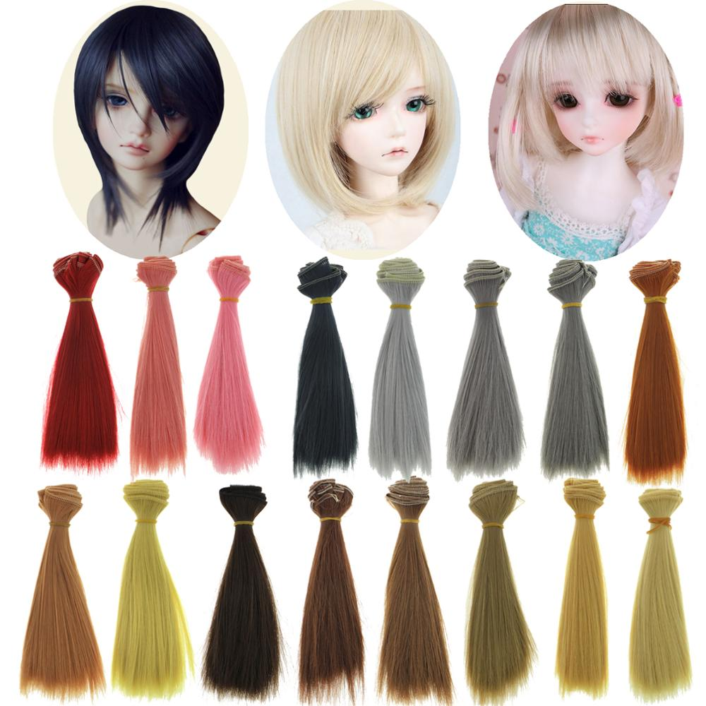Fashion 1pcs 15*100cm BJD SD Doll Wigs Straight Black Brown White Doll Hair High Temperature DIY 1/3 1/4 Doll Accessories Toy