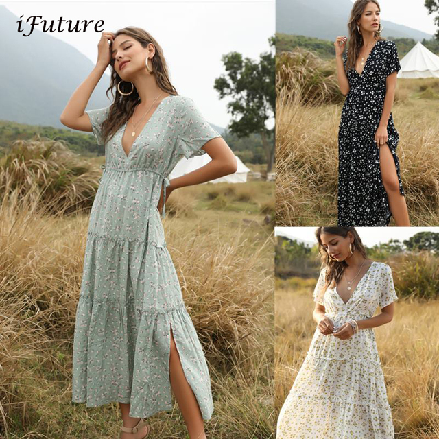 2020 Summer Beach Holiday Dress Women Casual Floral Print Elegant  Boho Long Dress Ruffle Short-Sleeve V-neck Sexy Party Robe 1