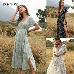 Женское летнее пляжное платье с цветочным принтом, Элегантное Длинное Платье в стиле бохо с рюшами, с коротким рукавом и v-образным вырезом, ...