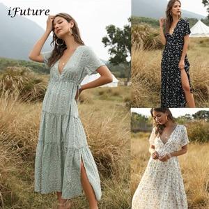 2020 Summer Beach Holiday Dress Women Casual Floral Print Elegant Boho Long Dress Ruffle Short-Sleeve V-neck Sexy Party Robe(China)
