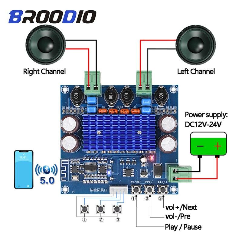 Amplificador inal/ámbrico Bluetooth 4.0 de doble canal TPA3116D2 120 W + 120 W, 12 V-24 V, CC para audio de coche