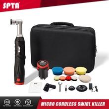 SPTA – Mini polisseuse de voiture sans fil, Micro anti rayures 12V RO/DA avec 1 batterie, tampon de polissage, tampon en laine pour le polissage, le ponçage