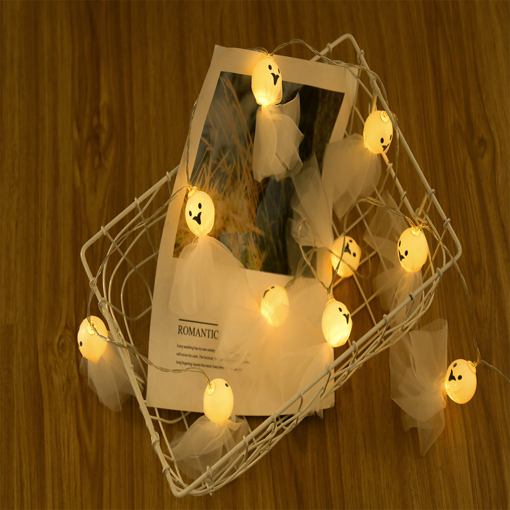 150cm 10 Lamps Skeleton Fabric Ghost Elf Grimace Fairy String Lights Battery Powered LED  for Halloween Party Festivals
