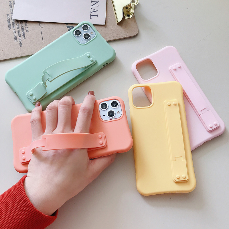 Candy Color Soft Case On For Xiaomi Redmi Note 8 8A 7 7A K20 Pro Matte Wrist Strap Holder Phone Airbag Back Cover Case Gift