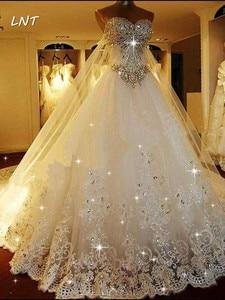 Image 2 - Vestidos de casamento cristais luxuosos, vestidos de casamento com trem traseiro destacável, vestidos de noiva plus size