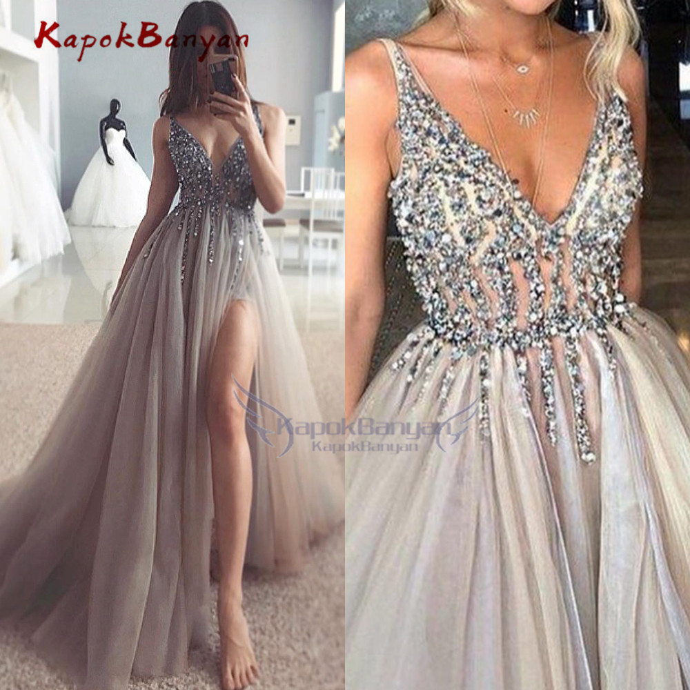 >Sexy Crystals A-line Evening Dresses <font><b>High</b></font> <font><b>Split</b></font> <font><b>Tulle</b></font> Party Gown Deep V-neck Open Back robe de soiree