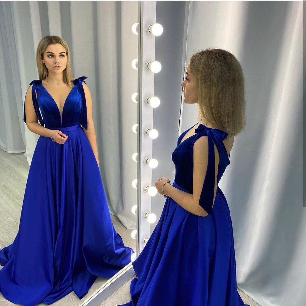 Royal Blue Party Dress 2020 v-neck A-Line Sleeveless Satin Simple Women Formal Party Gowns Special  Occasion Elegant Court Train