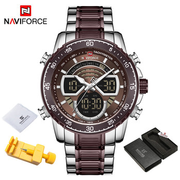 NAVIFORCE Mens Military Sports Waterproof Watches Luxury Analog Quartz Digital Wrist Watch for Men Bright Backlight Gold Watches 18
