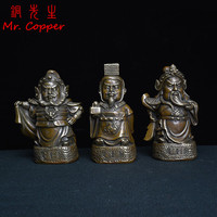 Antique Bronze Three Kingdoms Heroes Statue 15cm Height Liu Guan Zhang Brothers Figurine Copper Ornament Home Desktop Decoration