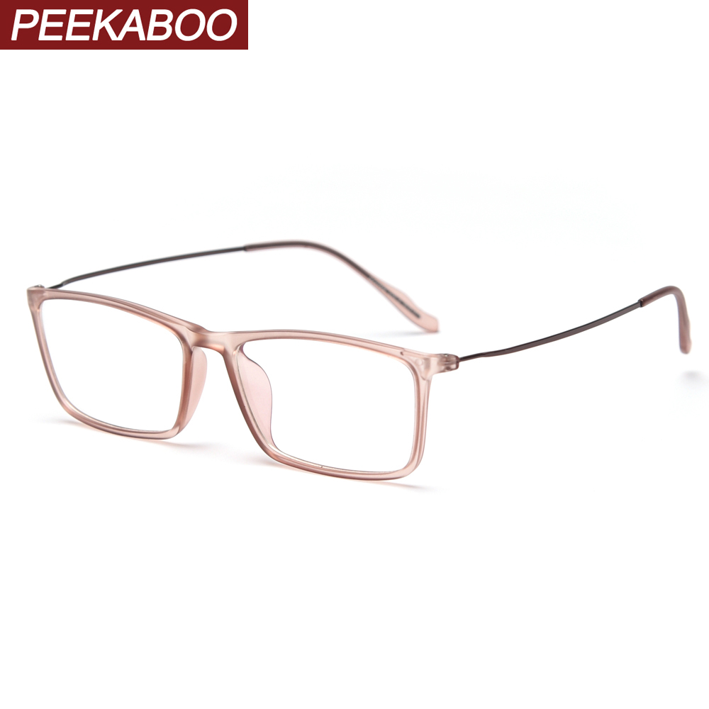 Peekaboo Korean Style Rectangular Glasses Optical Women Clear Lens Light Tr90 Eyeglasses For Men Half Metal Transparent Brown