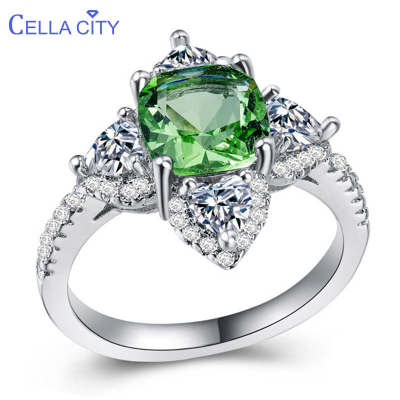 Cellacity Gemstones Ring for Women Silver 925 Jewelry Green Zircon Clover Creative Dating Gift Korean Style Female Rings Party