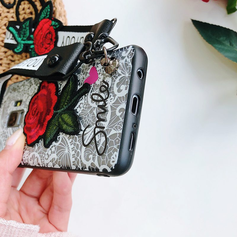 Lace Embroidered Rose Flower Phone Case For Iphone With Lanyard Back Cover