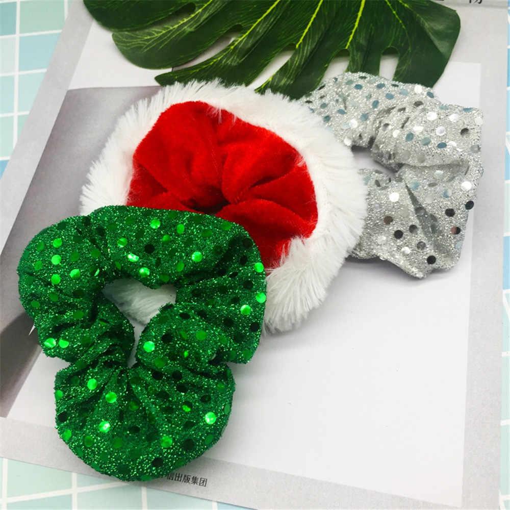 Christmas Scrunchies For Women Girls Elastic Hair Rubber Fashion Christmas Ornaments Hair Ring Velvet Ponytail Holder