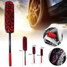 Tapacubos de coche, cepillo de limpieza de coche de lana, mango largo y Flexible, cepillos de llanta de fibra suave, cepillo de limpieza de neumáticos de coche, descuento