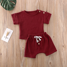 cute baby summer clothing set 2019 new cotton short sleeved striped shirts shorts toddler baby clothes kids outfits sy f192210 2Pcs Fashion Summer New Baby Clothes Set Girls Boys Botton Cotton Linen Kids Short Sleeve Tops T-Shirts+Shorts Outfits Suits