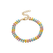 LUFANG Color Leaf Shaped Alloy Bracelet For Women 2019 New Charm Fashion Party Jewelry Accessories Bohemian Statement Bracelet(China)