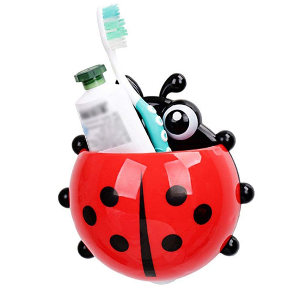 Cute Toothbrush Holder Ladybug Suction Toothpaste Wall Sucker Bathroom Household Merchandises Set(Red)