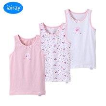 Iairay 3 шт./компл., летние хлопковые топы для девочек, футболка без рукавов, Детские майки, розовая, белая нижняя рубашка, модное нижнее белье для девочек