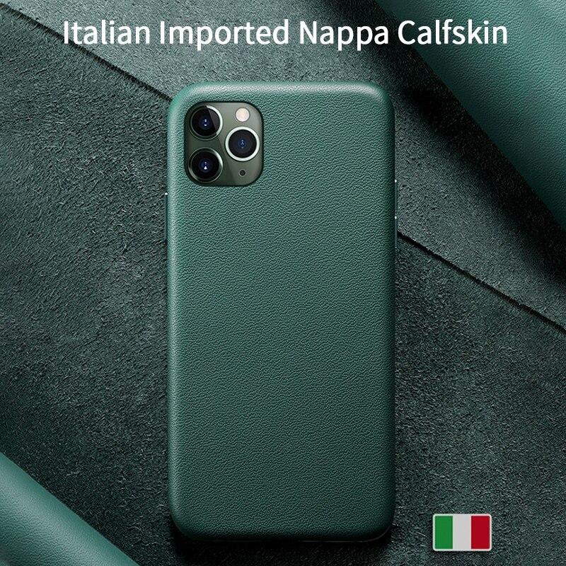 SanCore para iPhone 11 Pro Max funda para teléfono Funda de cuero de Napa funda protectora de cuero genuino funda de lujo Premium de negocios