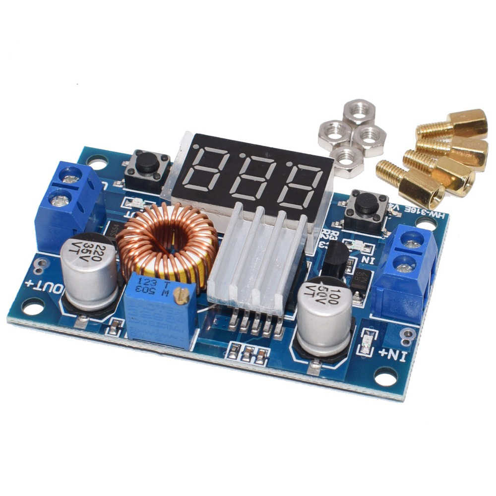 XL4015 5A Tinggi Daya 75W DC-DC Adjustable Step-Down Modul + Voltmeter LED Power Supply Modul