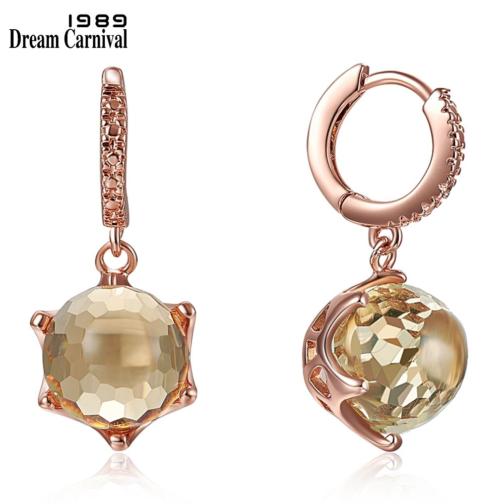 DreamCarnival1989 Hot Selling Special Zircon Drop Earrings for Woman Dazzling Champagne Color CZ Elegant Party Jewelry WE3819CH