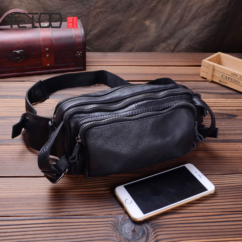 AETOO Men's leather large-capacity purse, head leather multi-functional chest bag, trend one-shoulder slanted small bag