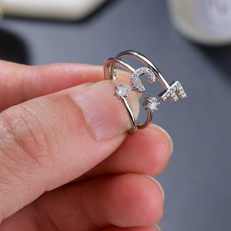 Klasyczny pierścionek z pierwszej litery panie męska prosta i hojna europejska i amerykańska osobowość pierścień z charmsami inicjały urodziny prezent