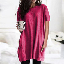 5xl Plus Size Women Tunic Blouse Summer 2020 Casual pure Short Sleeve Clothes O-neck Pocket Loose Top Shirts Blouse Blusas Mujer