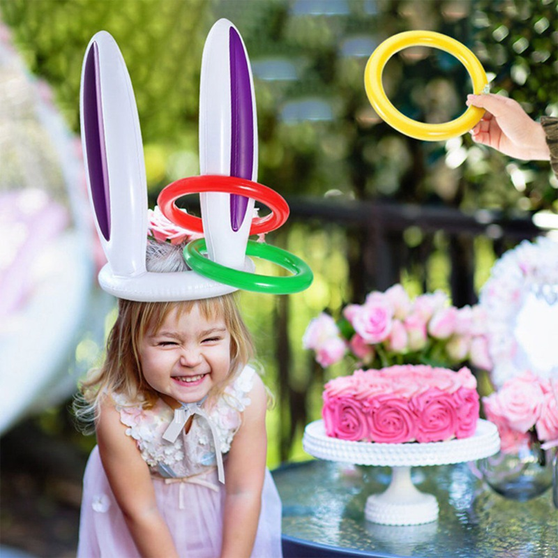Inflatable Bunny Ears Rabbit Hat 4 Rings Toss Game Fun Toys Kids Party Deer Head Ferrule Tools Easter Christmas Party Decoration
