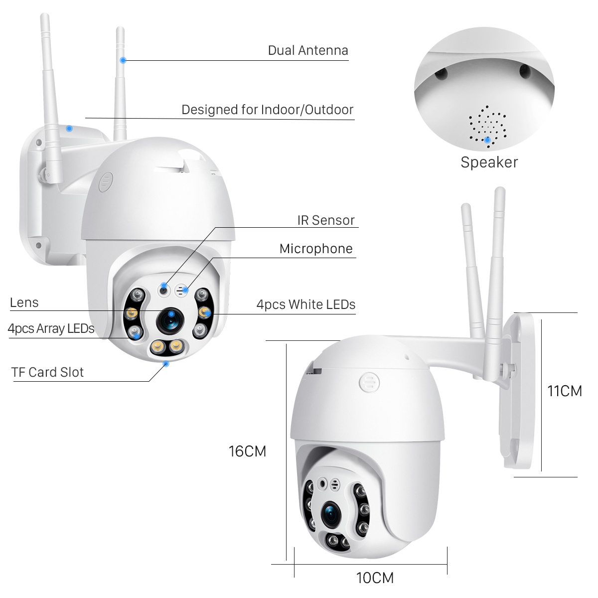 H8dd26333aabf4080b9725e952e9069665 BESDER H.265 PTZ IP Camera 2MP WiFi Cloud Storage Motion Voice Alert Dual Antenna Dual IR Light PTZ Security Surveillance Camera