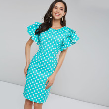 Vintage Polka Dot Dress Women Bodycon Dresses 2XL Retro Pin Up Female Ruffle Sleeve Blue Slim Sexy Casual Party Vestido Summer polka dot zip up side dress