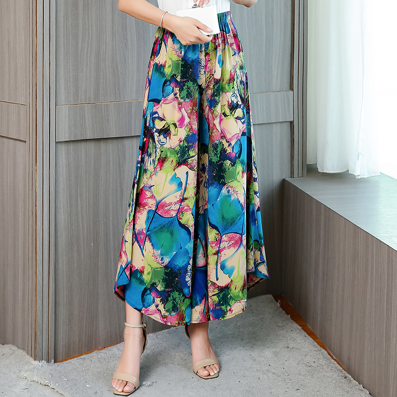 Plus Size 4XL Summer Wide Leg Pants Women Casual Beach Plaid Pants Women Printed Loose Print Trousers Women High Waist Pants