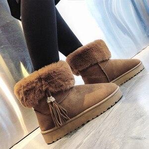 Image 5 - Centenary Vierkante hak laarzen voor vrouwen Ronde Neus vrouwen schoenen Lage (1 cm 3 cm) winter schoenen vrouwen Lace Up harige laarzen