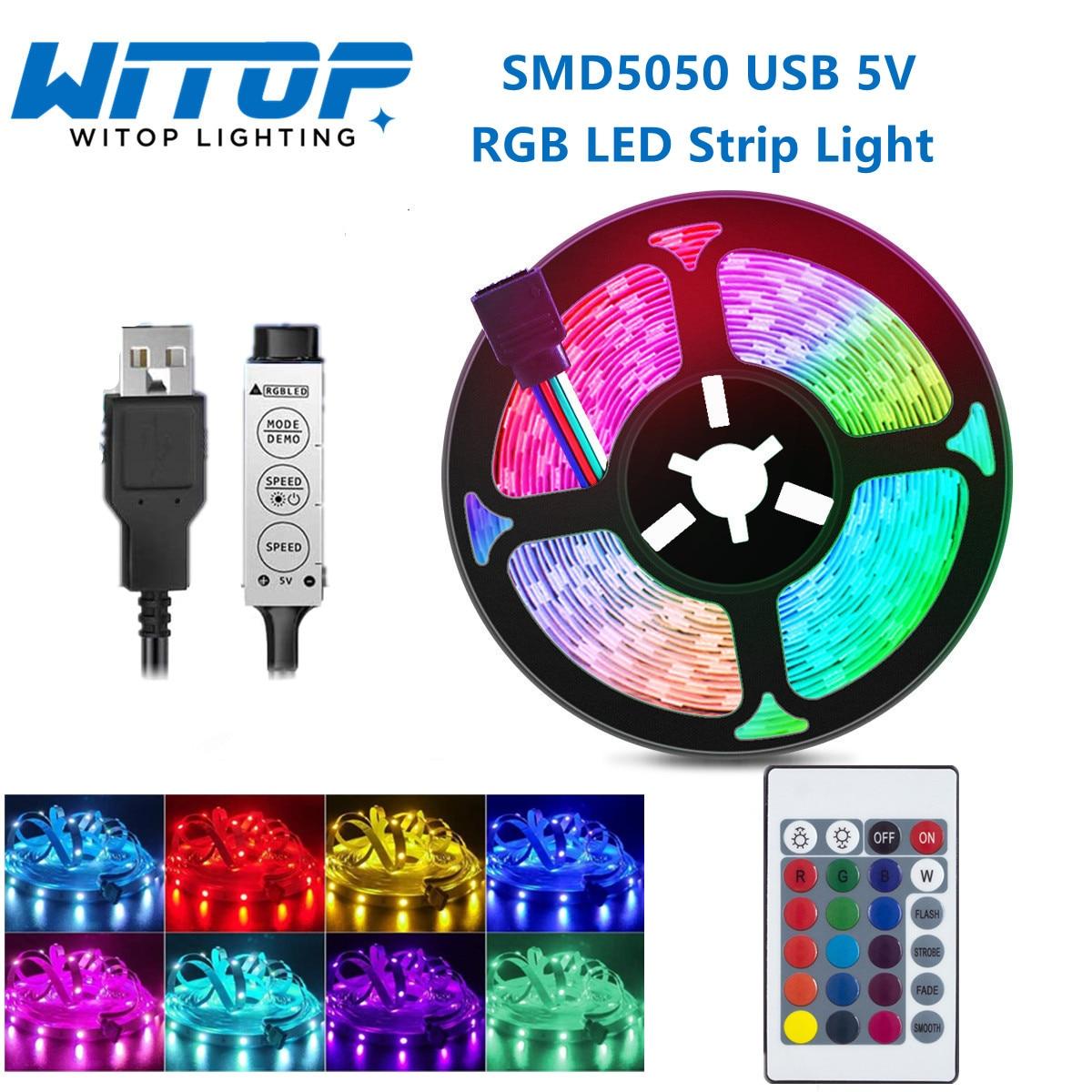 USB светодиодные ленты 5050 5V RGB подсветка для телевизора декоративная лента для ночного фестиваля вечерние спальни 24-кнопочный пульт дистанци...