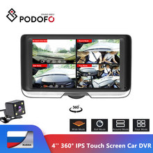 Podofo cámara DVR con pantalla táctil para coche IPS de 4 pulgadas FHD 360 grados, lente Dual, cámara de salpicadero, registrador de visión trasera, ojo de pez, visión nocturna