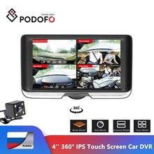 Podofo caméra DVR pour voiture, double objectif, écran tactile IPS 360 degrés, FHD, 4 pouces, caméra de tableau de bord avec vue arrière, enregistreur Fisheye, Vision nocturne