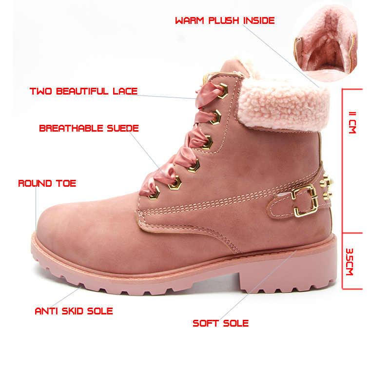 Fujin/женские зимние ботинки; розовые женские ботинки на платформе; повседневные ботильоны на шнуровке; женская обувь с круглым носком; Зимние ботильоны