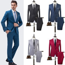 ZOGAA 2019 High Quality Men Fashion Slim Suits Male Business Casual Groomsman 2pcs Wedding Suit Men's Jacket Pants Trousers Sets(China)