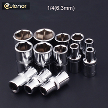 13PCS 1/4 Drive Socket Wrench Set 6 Point Bit Adapter Mirror  Polishing Spanner for Car Repair Hand Tools